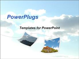 PowerPoint template displaying two images hanging on white cord in cloudy blue sky