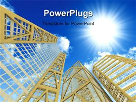 PowerPoint template displaying high modern skyscrapers on a background of the blue sky and in solar patches of light in the background.