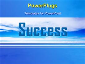 PowerPoint template displaying 3D word SUCCESS over blue cloudy sky with blue edges