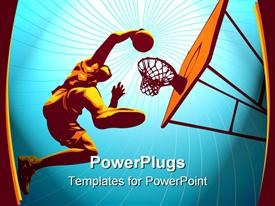 PowerPoint template displaying basketball player rises high to slam in the basket