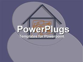 PowerPoint template displaying two dimensional drawing of house on grey