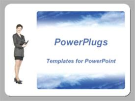 PowerPoint template displaying woman in business suit holding opened day planner notebook on white background with depiction of sky background