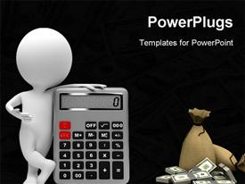 Small people with the calculator. 3D image powerpoint design layout