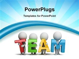 PowerPoint template displaying 3D Human Characters Holding Hands in the word Team with rays in the background