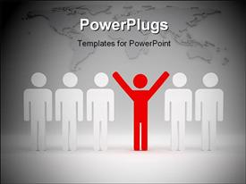 PowerPoint template displaying 3D red colored man with hands raised leading team