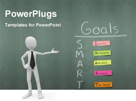 Smart Goals specific measurable attainable relevant time bound all on sticky notes on a chalkboard powerpoint template