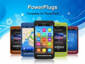 PowerPoint template displaying touch screen smart phones arranged with one leading and others in formation