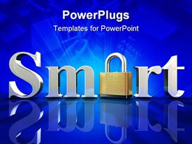 Chrome letters spelling the word Smart on a blue reflective surface template for powerpoint