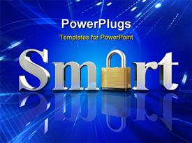 Chrome letters spelling the word Smart on a blue reflective surface presentation background