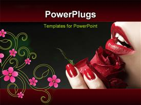 PowerPoint template displaying a lady holding a lovely red rose with a floral design