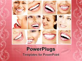 PowerPoint template displaying collage of teeth close ups of beautiful women smiling