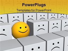 PowerPoint template displaying bright yellow sphere with smile in row of grey boxes