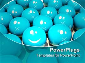 PowerPoint template displaying computer graphic colored smile face and Straight Faced series in the background.
