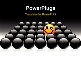 PowerPoint template displaying round smile, yellow element of black sphere background