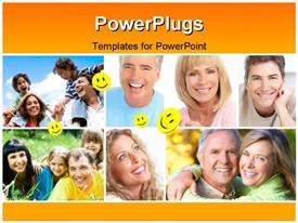 PowerPoint template displaying collage of different families having fun with yellow smiley faces