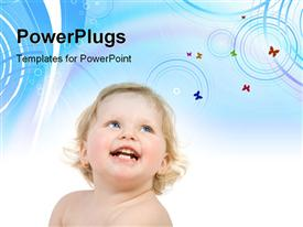 PowerPoint template displaying a happy kid with a bluish background and place for text