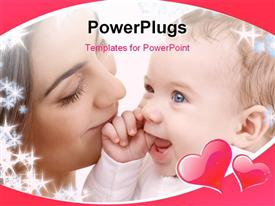 PowerPoint template displaying depiction of happy mother with baby and snowflakes