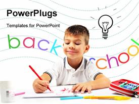 PowerPoint template displaying smiling child having an idea while drawing in the background.