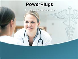 PowerPoint template displaying smiling doctor looking at a patient on a wheelchair in hospital hallway in the background.