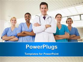 PowerPoint template displaying smiling doctor and nurses with arms crossed in hospital corridor in the background.