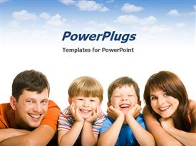 PowerPoint template displaying family, childcare, parenting, family environment, genealogy, hou