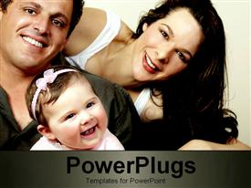 PowerPoint template displaying family all smiling in the background.