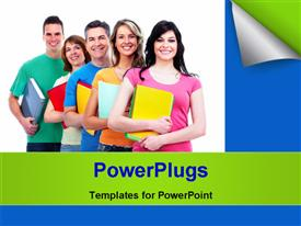PowerPoint template displaying group of smiling students