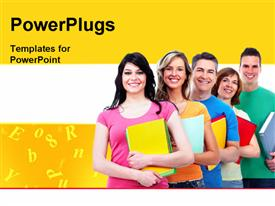 PowerPoint template displaying a number of people being happy with yellowish background