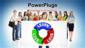 Large group of smiling students powerpoint theme