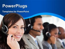 PowerPoint template displaying row of customer support representatives with headphone and microphone