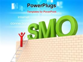 PowerPoint template displaying the word SMO with a person climbing the ladder