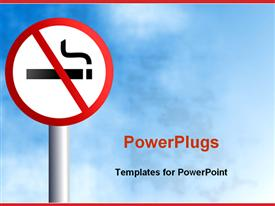 PowerPoint template displaying no smoking signpost on light blue sky background framed with red margins at the top and bottom