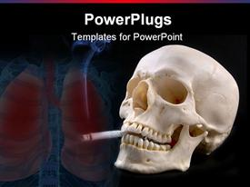 PowerPoint template displaying a skull with a cigarete and lungs in the background