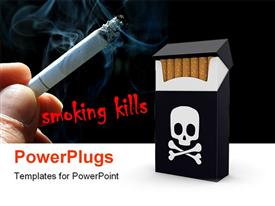 PowerPoint template displaying smoking kills banner with skull on cigarette pack and hand holding lighted cigarette