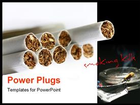 PowerPoint template displaying anti smoking flyer with tobaaco in rolling papers and text smoking kills