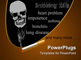 PowerPoint template displaying cigarette and smoke in the form of a human skull on a black background