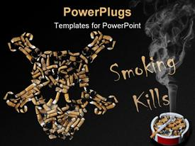 PowerPoint template displaying smoking kills skull made of cigarettes, cigarette with smoke in ashtray on black background