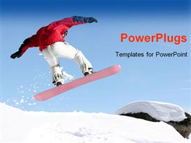 PowerPoint template displaying close up view of snowboarder jumping in the air on snowy mountain