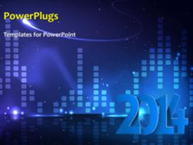 PowerPoint template displaying new year 2014 depiction with winter snow over blue background