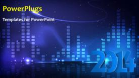 PowerPoint template displaying new year 2014 depiction with winter snow over blue background - widescreen format