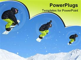 Collage sequence of a snowboarder in black and yellow performing a jump template for powerpoint