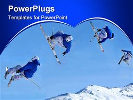 Sequence of a skier jumping while crossing his skis and holding both of his skis in his hands powerpoint design layout