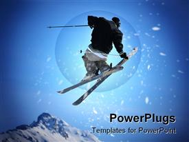 Skier performing a jump and holding the back of one of his skis with his hand presentation background