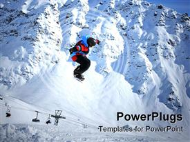PowerPoint template displaying snowboarder performing a jump with the famous extreme skiing mountain bec de bosson in the background