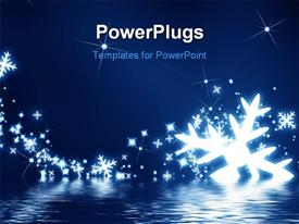 PowerPoint template displaying snowflakes on a dark blue background with glitters