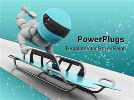 PowerPoint template displaying a person trying to compete in skeleton bobsleigh with full throtle