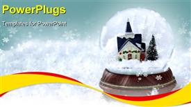 PowerPoint template displaying snow globe with church and Christmas trees inside. Copy space available