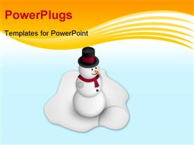 PowerPoint template displaying a snowman with ice in the background and place for text