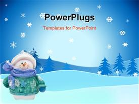 PowerPoint template displaying smiling snowman in coat, hat, scarf, mittens on snowy landscape with trees