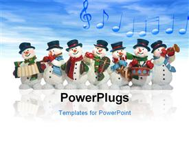 PowerPoint template displaying snowmen playing music instruments in the background.